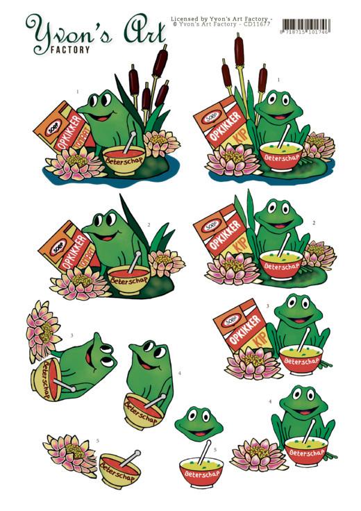 3D Cutting Sheet - Yvon's Art - Get well Frog
