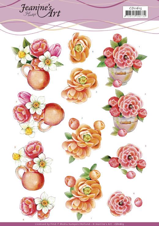 3D Cutting Sheet -Jeanine's Art - Orange Flowers