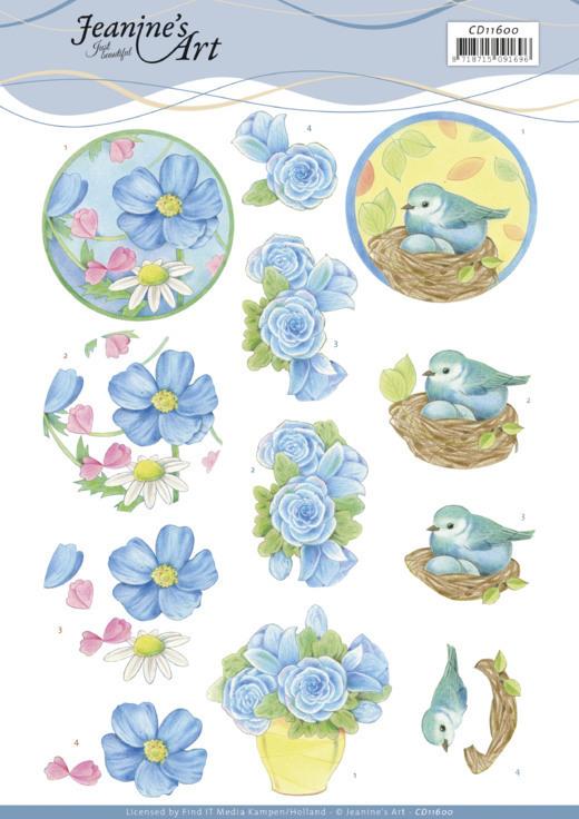 3D Cutting Sheet -Jeanine's Art -Blue Flower