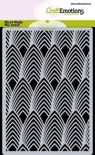 CraftEmotions Mask stencil bladeren Art Deco A6 (05-21)