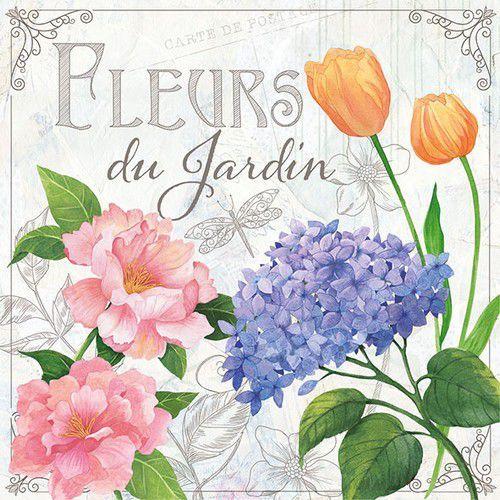 CraftEmotions servetten 5st - Fleurs du Jardin 33x33cm Ambiente 13309885 (04-21)