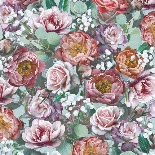 CraftEmotions servetten 5st - Vintage Flowers 33x33cm Ambiente 13313901 (04-21)