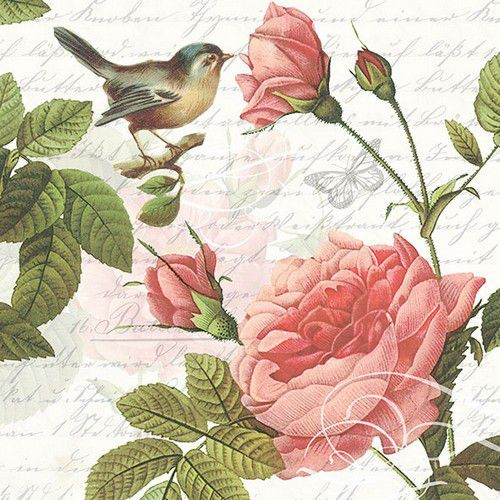 CraftEmotions servetten 5st - Rozen, vogel, script 33x33cm Ambiente 13314980 (04-21)