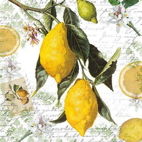 CraftEmotions servetten 5st - Lemon, script 33x33cm Ambiente 13314990 (04-21)