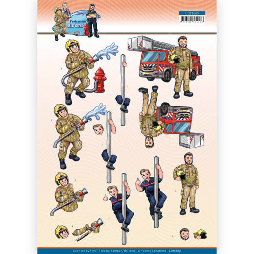 3D Cutting Sheet - Yvonne Creations - Big Guys Professions - Fire department