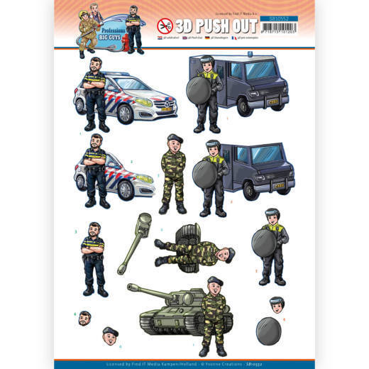 3D Push Out - Yvonne Creations - Big Guys Professions - Police