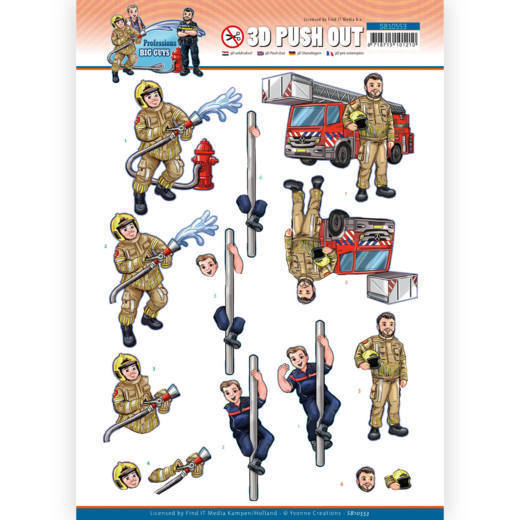 3D Push Out - Yvonne Creations - Big Guys Professions - Fire department
