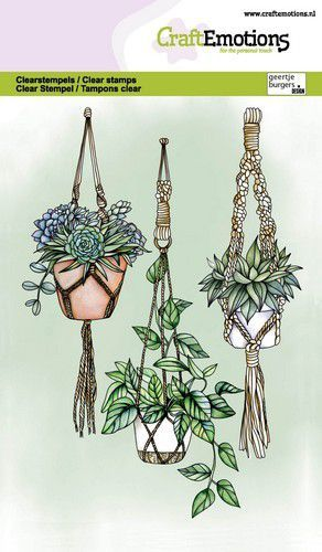 CraftEmotions clearstamps A6 - Macramé hangplanten GB (05-21)