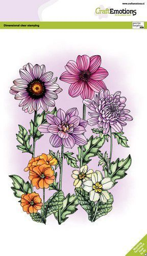 CraftEmotions clearstamps A5 - Mix zomerbloemen GB Dimensional stamp (05-21)