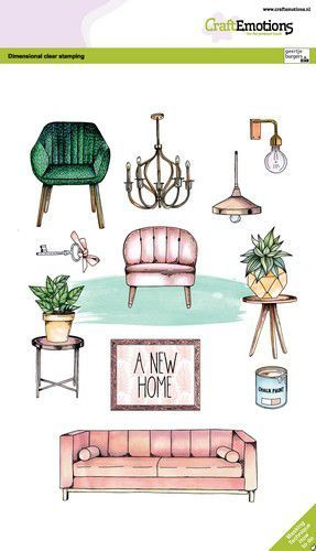 CraftEmotions clearstamps A5 - A new home GB Dimensional stamp (05-21)