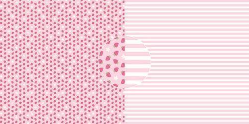 Dini Design Scrappapier 10 vl Aardbeien - strepen 30,5x30,5cm #4018 (05-21)