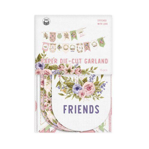 Piatek13 - Paper die cut garland Stitched with love P13-SWL-32 10x15cm (05-21)