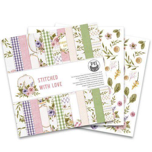 Piatek13 - Paper pad Stitched with love, 12x12'' P13-SWL-08 (05-21)