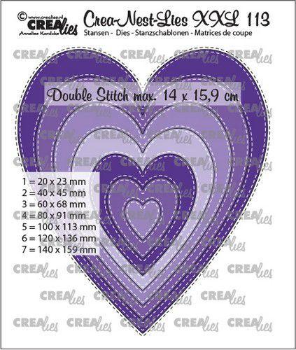 Crealies Crea-nest-dies XXL Slanke harten CLNestXXL113 14x15,9cm (05-21)