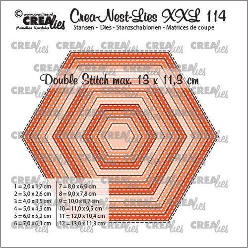 Crealies Crea-nest-dies XXL Zeshoeken CLNestXXL114 13x11,3cm (05-21)