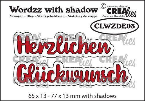 Crealies Wordzz with Shadow Herzlichen Glückwunsch (DE) CLWZDE03 77x13mm (05-21)