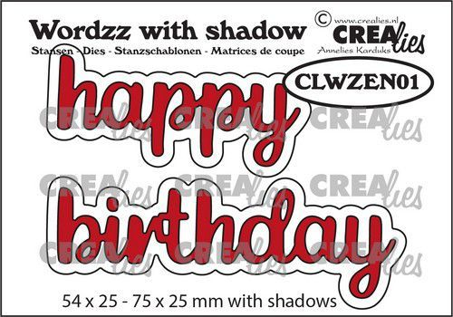 Crealies Wordzz with Shadow Happy Birthday (ENG) CLWZEN01 75x25mm (05-21)