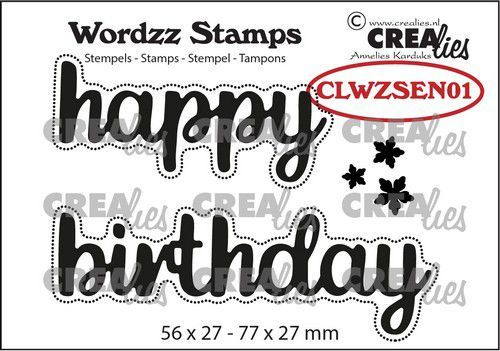 Crealies Clearstamp Wordzz Happy Birthday (ENG) CLWZSEN01 77x27mm (05-21)