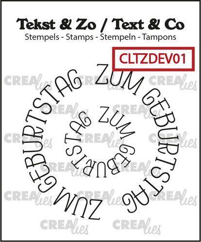 Crealies Clearstamp Tekst & Zo Rond: Zum Geburtstag (DE) CLTZDEV01 43x43mm (05-21)
