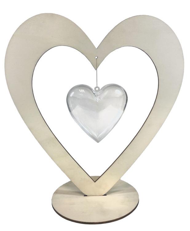 6320/0023 Houten hart open met transparant hartje