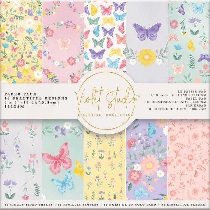 Violet Studio - Paperpad 15x15 cm - Butterflies & Flowers