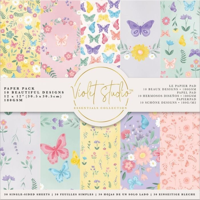 Violet Studio - Paperpad 30x30 cm - Butterflies & Flowers