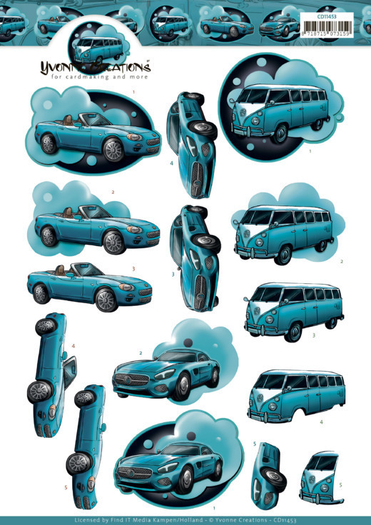 3D Cutting Sheet -Yvonne Creations - Cars in Blue