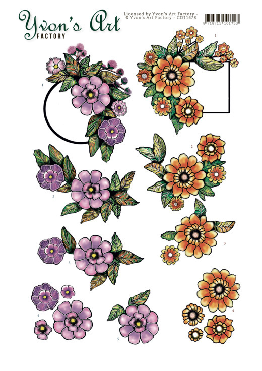 3D Cutting Sheet - Yvon's Art -Label Flowers