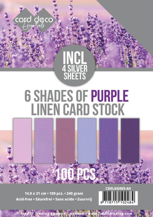 6 Shades of Purple Linen Card Stock - A5