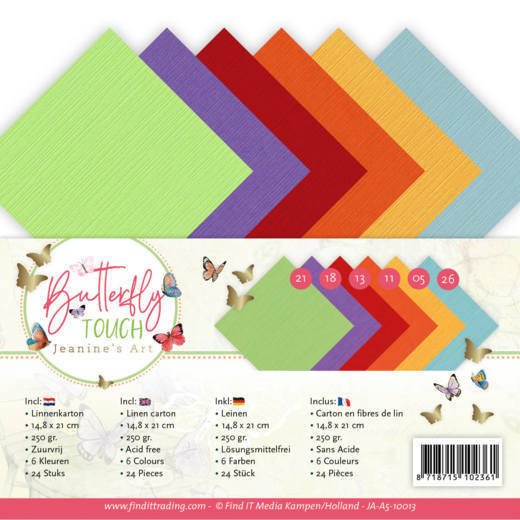 Linen Cardstock Pack - A5 - Jeanine's Art - Butterfly Touch