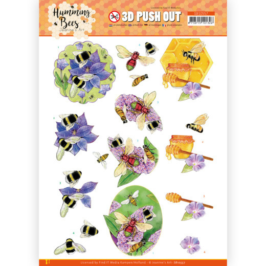 3D Push Out - Jeanine's Art - Humming Bees - Honey