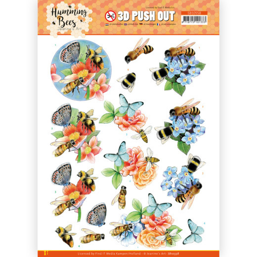 3D Push Out - Jeanine's Art - Humming Bees -Bees and Bumblebee