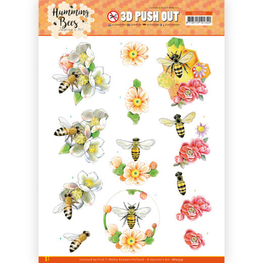 3D Push Out - Jeanine's Art - Humming Bees - Bee Queen