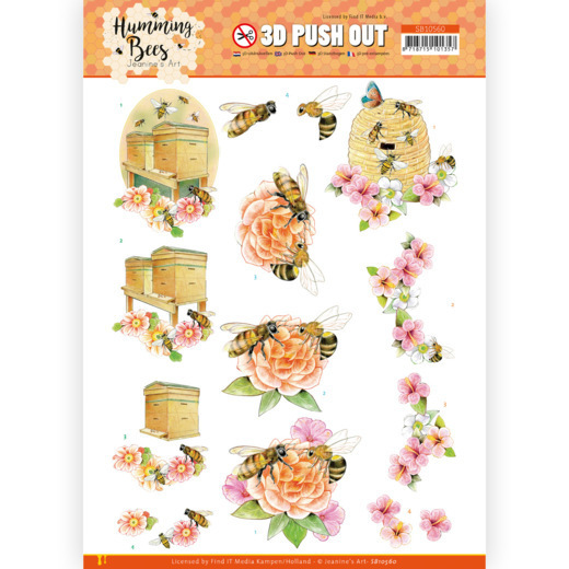 3D Push Out - Jeanine's Art - Humming Bees - Beehive