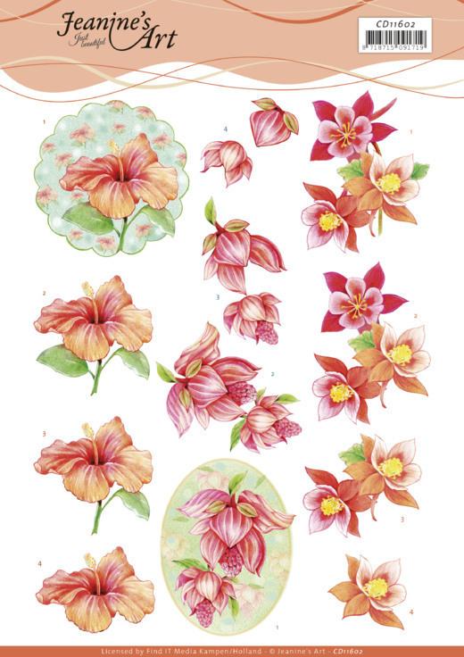 3D Cutting Sheet - Jeanine's Art -Orange Flowers