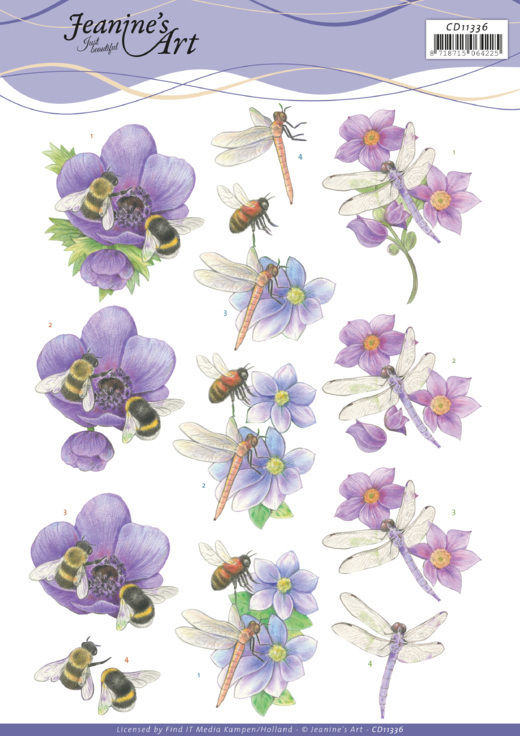 3D Cutting Sheet - Jeanine's Art -Bees and Dragonflies