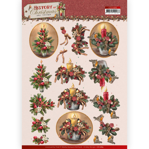 3D Cutting Sheet - Amy Design - History of Christmas - Christmas Candles