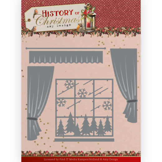 Dies - Amy Design - History of Christmas - Window with Curtains
