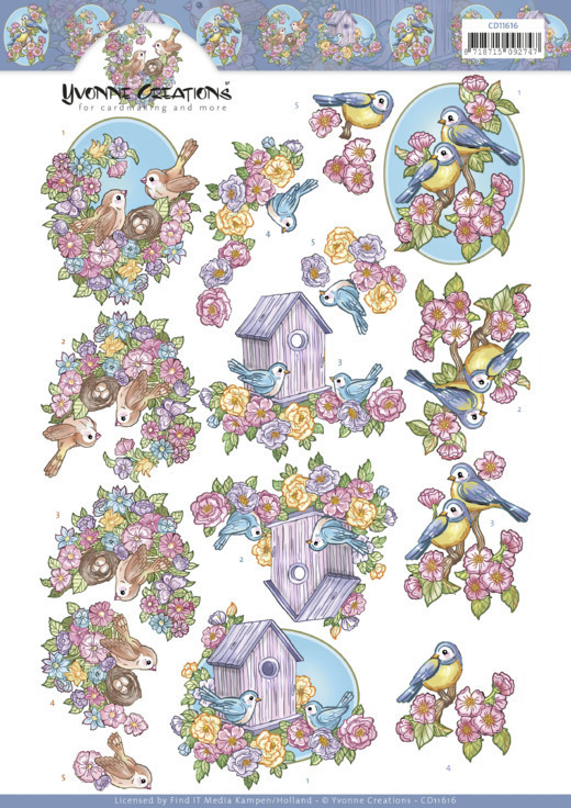 3D Cutting Sheet - Yvonne Creations - Flowers and Birds
