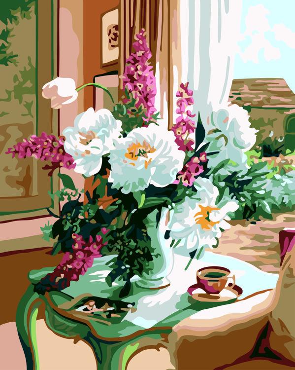 Schilderen op nummer bloemen vintage