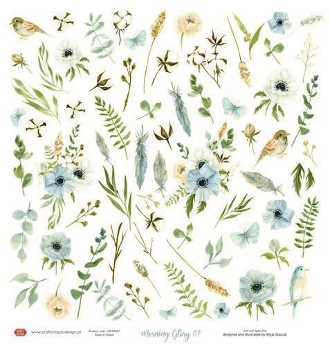 Craft&You Morning Mist sheet elements to cut out 12x12 CP-MM07 (07-21)
