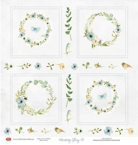 Craft&You Morning Mist sheet elements to cut out 12x12 CP-MM08 (07-21)