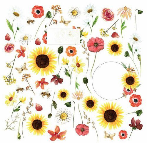 Craft&You Blossom Meadow sheet elements to cut out 12x12 CP-BM07 (07-21)