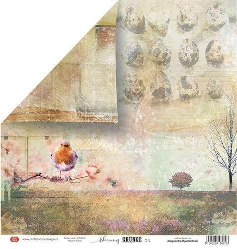 Craft&You Blooming Grunge Scrapbooking single paper 12x12 CP-BG01 (07-21)