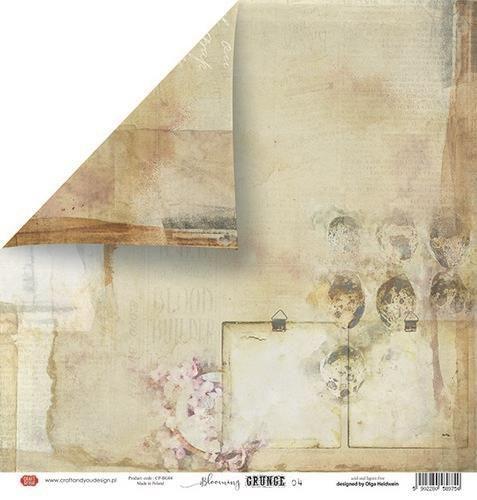 Craft&You Blooming Grunge Scrapbooking single paper 12x12 CP-BG04 (07-21)