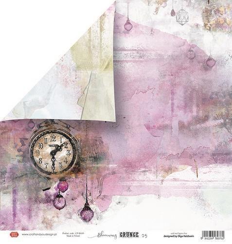 Craft&You Blooming Grunge Scrapbooking single paper 12x12 CP-BG05 (07-21)