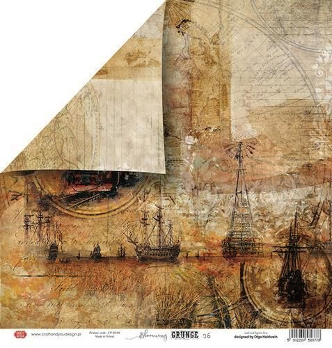 Craft&You Blooming Grunge Scrapbooking single paper 12x12 CP-BG06 (07-21)