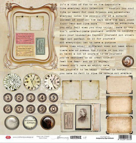 Craft&You Blooming Grunge sheet elements to cut out 12x12 CP-BG07 (07-21)