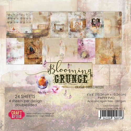 Craft&You Blooming Grunge Small Paper Pad 6x6 36 vel CPS-BG15 (07-21)