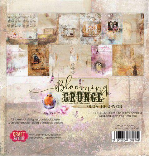 Craft&You Blooming Grunge Big Paper Set 12x12 12 vel CPB-BG30 (07-21)